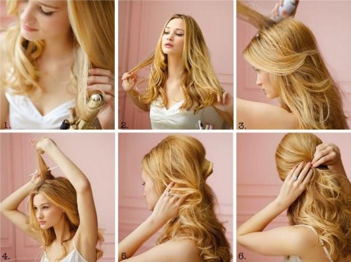 Как сделать прическу на средние волосы распущенные 645